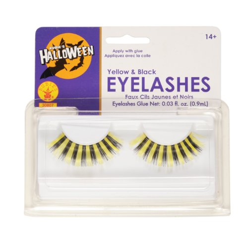 Rubies Yellow and Black Eyelashes and Adhesive