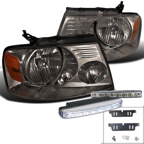 Ford F150 Smoke Headlight W/ White Led Drl Bumper Fog Lamp