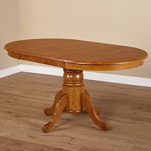 Simple Living Oak Rubberwood Round/ Oval Farmhouse Dining Table (Oval Pedestal Table With Leaf compare prices)