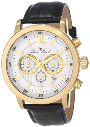 Lucien Piccard Men's 12011-YG-02S Monte Viso Chronograph White Textured Dial Black Leather Watch