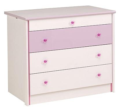 Commode 3 tiroirs pour chambre Fille Blanche et Rose, L 94 x H 76 x P 53 cm -PEGANE-