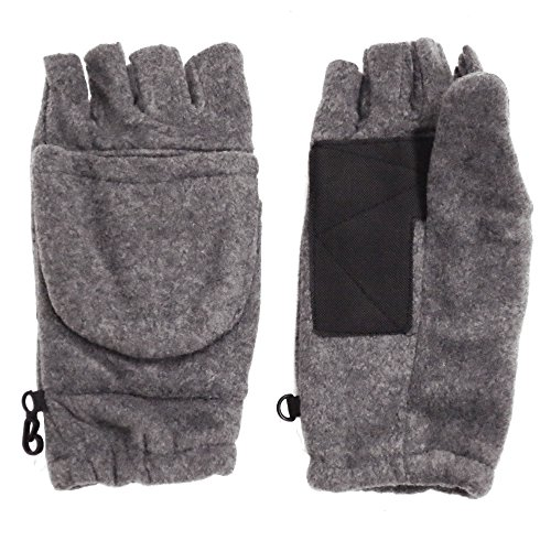 Winter Fingerless Gloves with Flap Cover Mitten, 194_Heather Grey (Or Gloves Kids compare prices)
