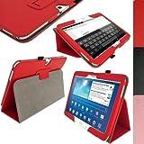 igadgitz Rot PU Ledertasche Hülle Folie Cover für Samsung Galaxy Tab 3 10.1