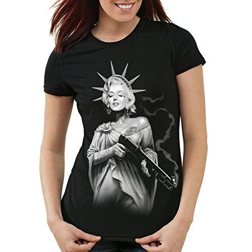 style3 Marilyn Liberty Tatuaggio T-Shirt da donna miss usa new york, Colore:Nero;Dimensione:XL