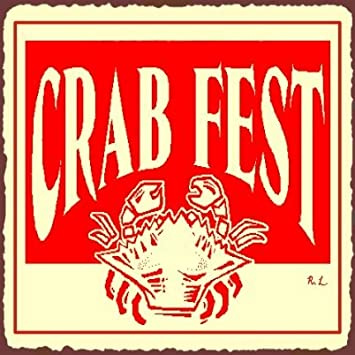 Crab Fest Vintage Metal Art Beach Retro Tin Sign