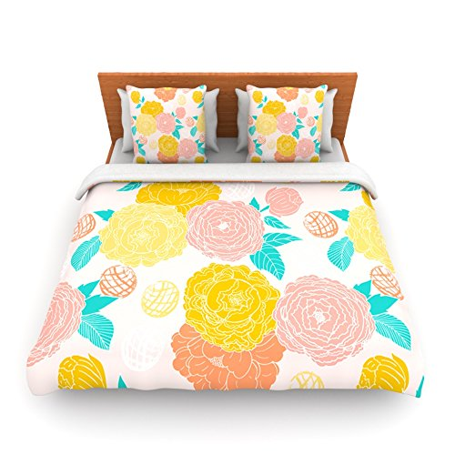 "Kess Inhouse Anneline Sophia ""Peonies Peach"" Yellow Pink King Fleece Duvet Cover, 104 By 88-Inch front-1018968"