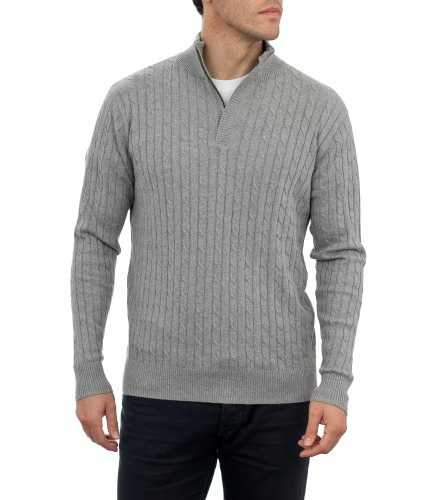 Mens Cashmere & Cotton Cable Zip Neck Jumper Flannel Grey Small