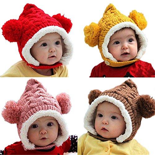 mark8shop Lovely Winter Beanie Crochet Knit lose warm Kid Baby Girl Boy Dual Bälle Ohr Wolle Knit Beanie Cap Strickmütze mit Ohrenklappen
