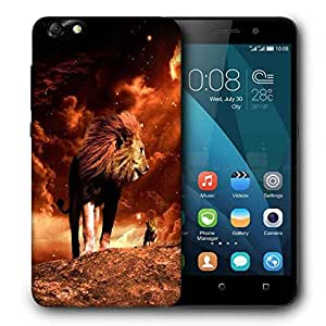 Snoogg Fury Lion Printed Protective Phone Back Case Cover For Huawei Honor 4X