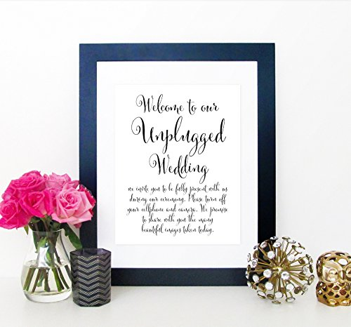 Unplugged Wedding Ceremony Sign, Unplugged Ceremony Sign, Unplugged Wedding Sign, Turn Off Cell Phone & Camera Signage, 8x10 Print Sign (UNFRAMED)