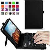Fintie Verizon Ellipsis 8 4G LTE Tablet Keyboard Case - Slim Fit PU Leather Stand Cover with Premium Quality【All-ABS Hard Material】 Removable Wireless 【Long Life Battery】Bluetooth Keyboard, Black