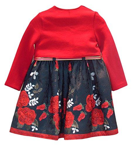Lilax Little Girls' Red Rose Printed Jacquard Dress with Bolero