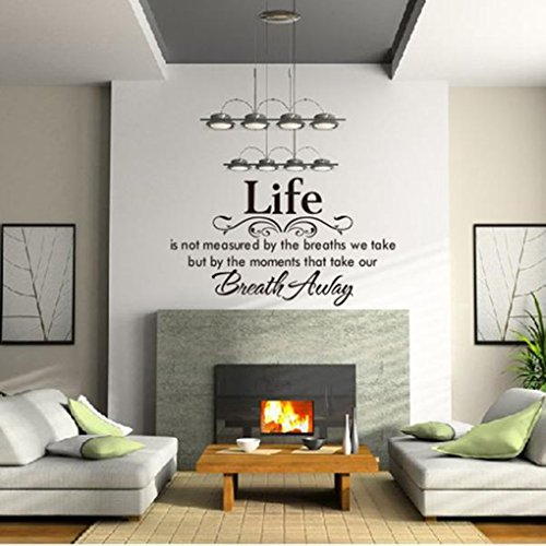 Wall Sticker, Hatop Life Is Not Measured By the Breaths We Take, but By the Moments That Take Our Breath Away Wall Lettering Stickers Quotes and Sayings Home Art (Positive Wall Stickers compare prices)