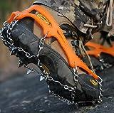[JX-SHOPPU]路面 凍結 の 転倒防止 簡単装着 11本爪 スノーチェーン スパイク 雪山 登山 トレッキングに男女兼用 専用ケース付き