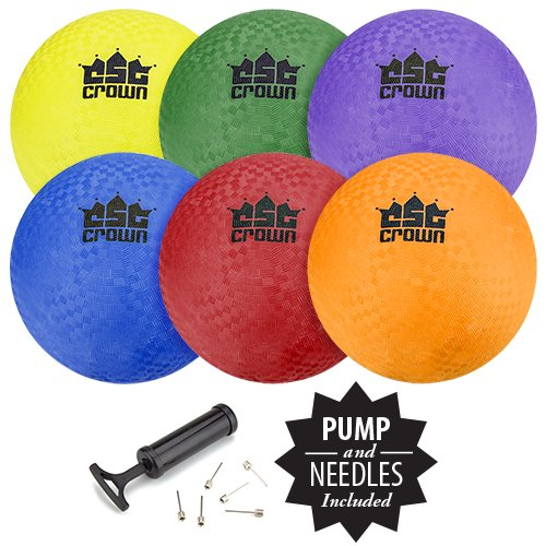 """Set of 6 8.5"""" Playground Balls with Hand Pump and Needles by Crown Sporting Goods"""