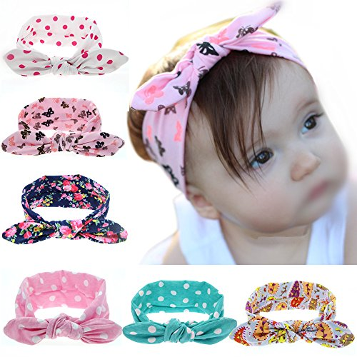 ROEWELL® Baby's Headbands Girl's Cute Hair Bows Hair bands Newborn headband (6 Pack)