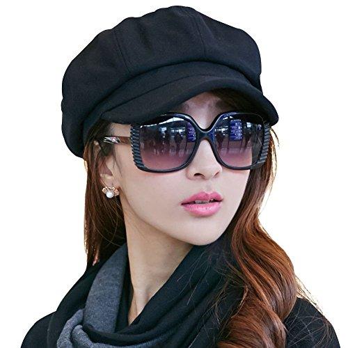 ladies-newsboy-cabbie-beret-cap-bakerboy-visor-peaked-winter-ivy-flat-hat-for-women-black