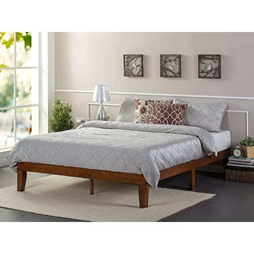 Zinus 12 Inch Wood Platform Bed / No Boxspring Needed / Wood Slat support / Cherry Finish, Full