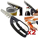 eForCity 2X HANDY 5-IN-1 MULTI FUNCTION SCISSOR TOOL CAN OPENER