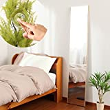 【30cm幅】 鏡 スタンドミラー 全身 ウォールミラー 壁掛け ミラー 姿見 割れない 日本製 〔細枠〕メープル