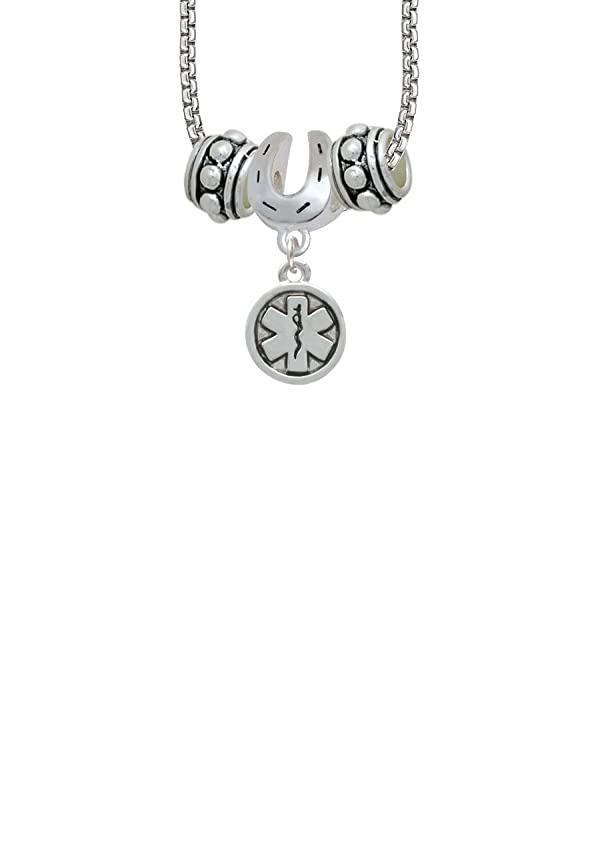 Round emt star of life horseshoe 3 bead necklace aloadofball Image collections