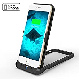 【Apple MFi Certified】Esorun iPhone 6/6s Battery Case with Built-in Stand, MFi Certified iPhone 6/6s All-in-one Case with 3500mAh Power (Black)