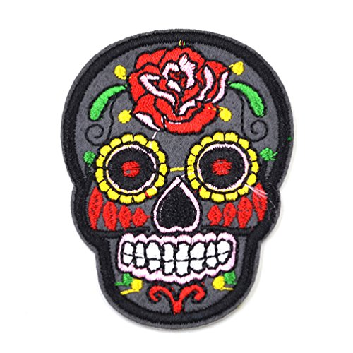 Sugar Skull Iron On Applique Flower Embroidered DIY Patch Sewing Patch Sticker (Sewing Stickers compare prices)