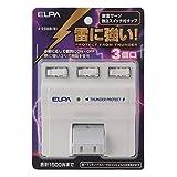 ELPA エルパ 耐雷サージ機能付スイングタップ 3個口 個別スイッチ A-S500B(W)