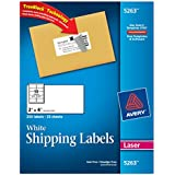 Avery® White Shipping Labels for Laser Printers with  TrueBlock(TM) Technology, 2 inches x 4 inches, Pack of 250 (5263)