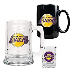 NBA Los Angeles Lakers 15-Ounce Tankard, 15-Ounce Ceramic Mug & 2-Ounce Shot... by Great American Products