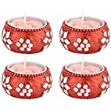Fuzone Wax Polki Decorative Diya (4 Cm X 12 Cm X 12 Cm, Red, Pack Of 4)