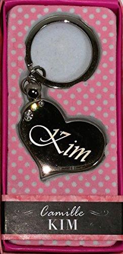 """KIM Namens Herz-Form silberfarbenes Metall Schlüsselanhänger mit Gravur und Swarovski-Kristall, in Geschenkverpackung, benannt. """"KIM"""" von Sterling Effectz"""