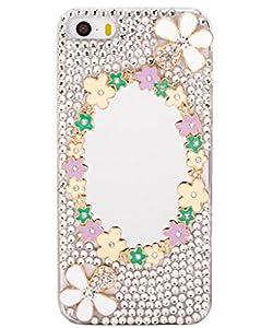 Unendlich U Schmuck ideal Geschenk für Weihnachten 3D glänzen Strass Spiegel vierblättriges Kleeblatt mit Handy Schutz Hülle für iPhone 5/5S