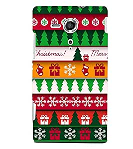 printtech Merry Christmas Pattern Back Case Cover for Sony Xperia SP::Sony Xperia SP M35h
