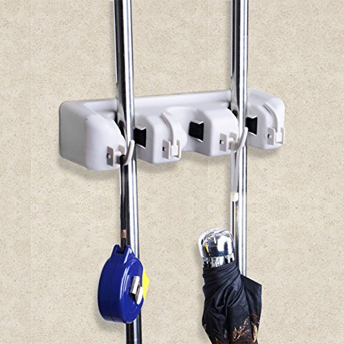 Mop and Broom Holder Organizer, NLEADER Wall Mounted Broom Closet with Hooks for tools (3 position 4 hooks, Light Grey) (Broom Organizer Spoga compare prices)