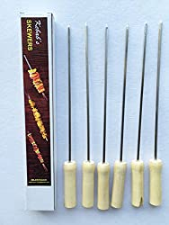 6 Pcs SET TWO - Stainless Steel Skewers with Wood handle for Tandoor / Grilling - barbeque -13 Inches- 6 Skewers (Rod, Saliya)