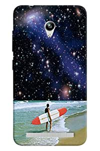 Blue Throat Man Surfing In Sea Printed Designer Back Cover/ Case For Asus Zenfone Go