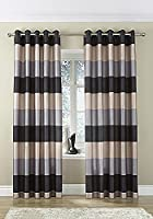 "Brazil Black Silver Beige Striped Faux Silk Lined Ring Top 90"" X 90"" Curtains #oir from PCJ SUPPLIES"