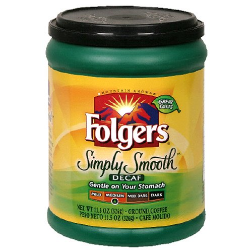Folgers Simply Smooth Decaffeinated Ground Coffee, 11.5 Ounce (Pack of 6) (Low Acid Instant Decaf Coffee compare prices)