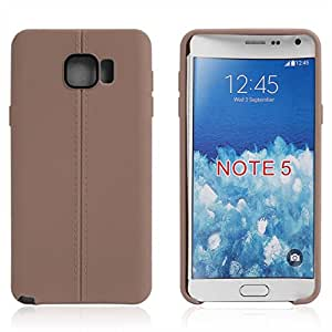 Smart Lines TPU Gel Back Case Cover for Samsung Galaxy Note5 Note 5 -Brown