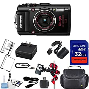 Olympus TG-4 16 MP Waterproof Digital Camera with 3-Inch LCD (Black) + Extra Battery + Original Accessories + Extremespeed 32GB Commander Memory + Spider Flexible Tripod + Carrying Case + 12pc Bundle