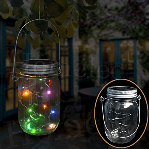 Homeleo Solar Mason Jar Lights, Color Changing LED Fairy String Light Lid Insert, Mason Jar Porch Lights for Garden Patio Decoration(Mason Jar & Handle Included)