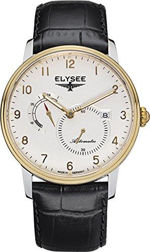 Elysee Priamos reloj para hombre de blanco con correa de cuero Negro