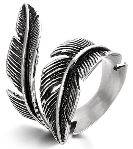 FIBO STEEL Stainless Steel Rings for Men Women Biker Ring Vintage Feather, Size 11 (Men Stainless Steel Ring Size 11 compare prices)