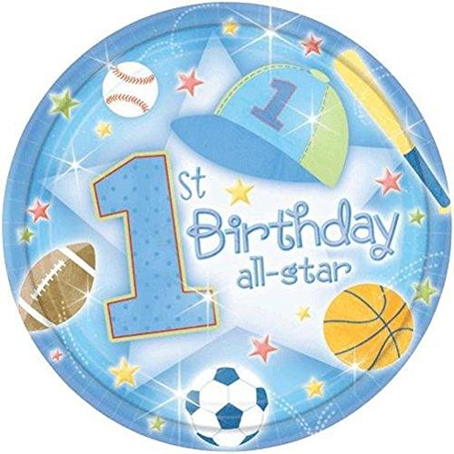 1st Birthday Boy 'All-Star' Small Paper Plates (18ct) - 1