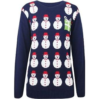 Oromiss Womens Ladies Snowman Christmas Present Warm Knitted Cute Jumper X28