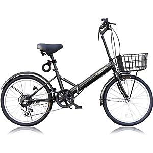 THREE STONE 折りたたみ自転車 20インチ シマノ社製6段変速ギア (AJ-08) (ブラック)