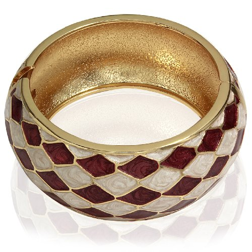 Hinged Bangle Bracelet-Diagonal Shape Design (Maroon & Cream)