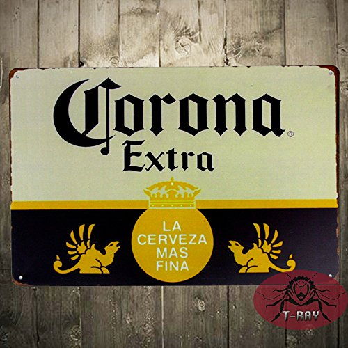 T-ray TIN SIGN Corona Extra Beer Cerveza Metal Decor Art Bar Pub Shop Store