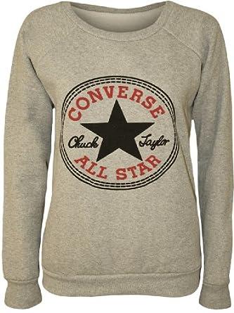 Papermoon - Damen 'Converse' Logo Druck Langarm Sweatshirt Top - Grau - 36-38